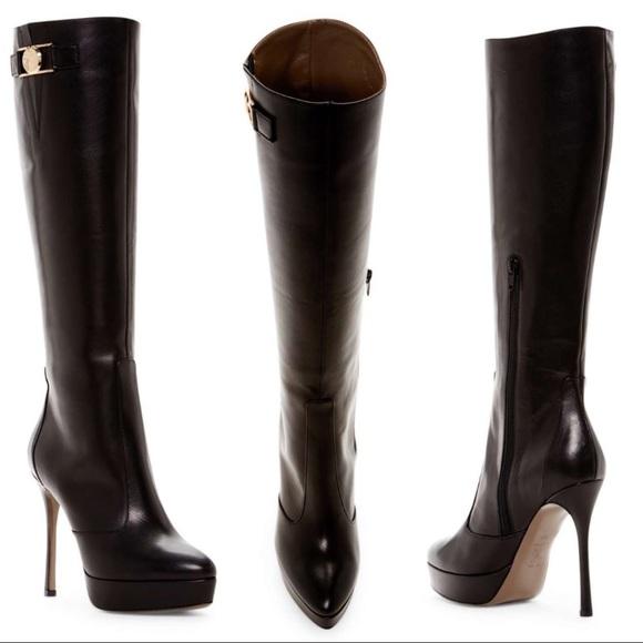 Versace Black Leather Platform Stiletto